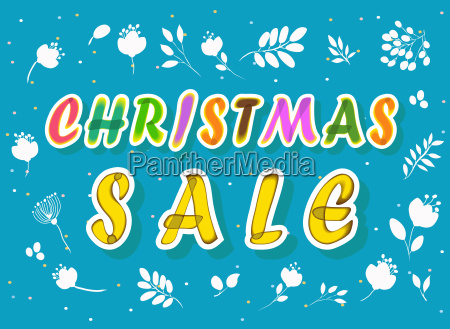 christmas sale with floral background