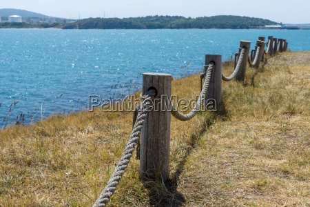 rope fence along the edge for