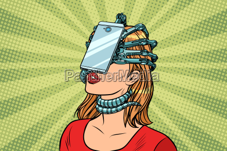 face id smartphone parasite woman and