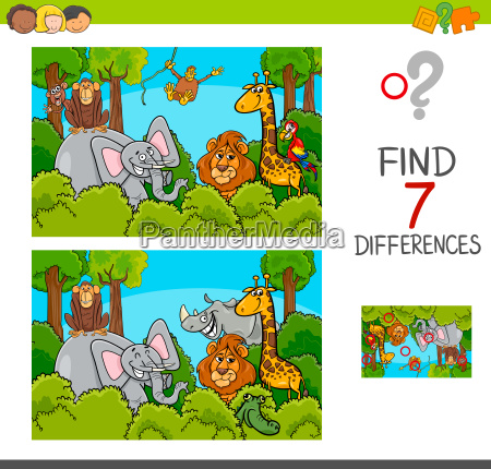 spot the differences game with wild