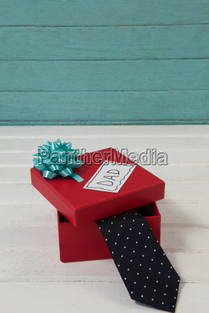 necktie in gift box with dad
