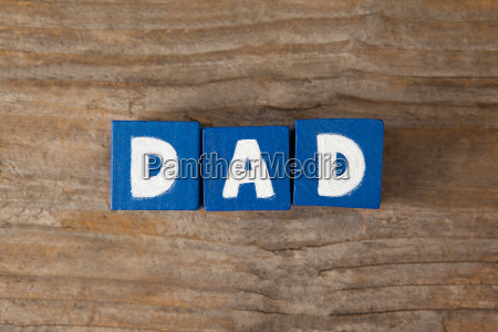 blue cube shapes with dad text