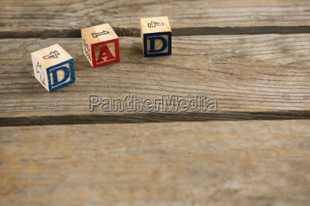 high angle view of wooden cubes