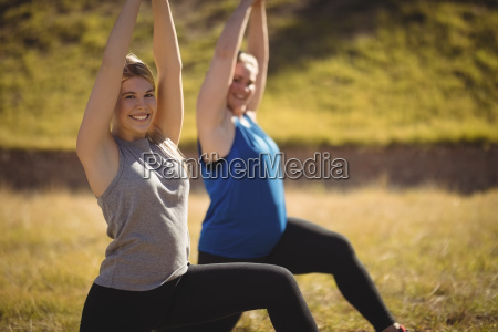 portrait of beautiful women praising yoga