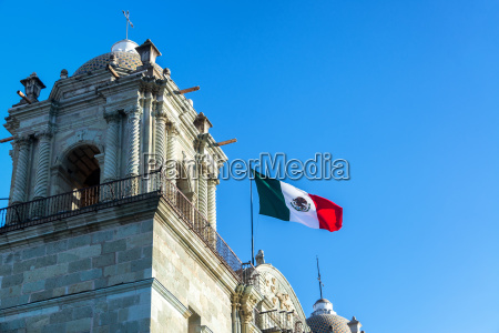 mexican flag and church