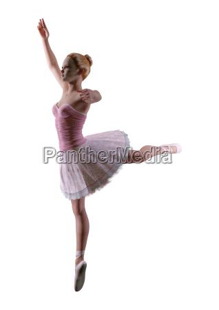 3d rendering ballerina on white