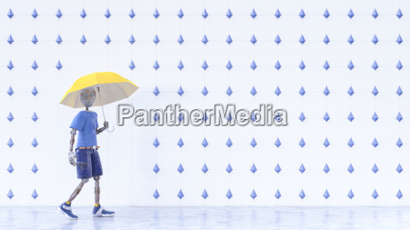 robot with yellow umbrella walking in