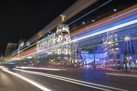 spain madrid gran via street with