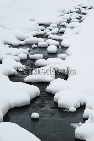 close up of riverbed with snow
