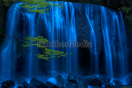 long exposure of waterfall with branch