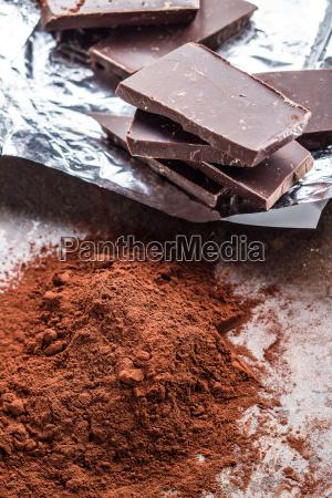 dark cocoa powder and chocolate