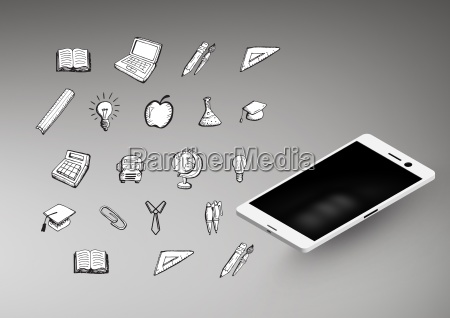 phone against grey background with education