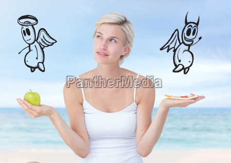 woman choosing or deciding food good