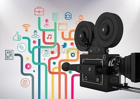 3d film camera against grey background