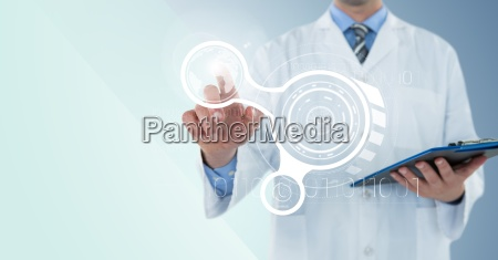 man in lab coat with clipboard