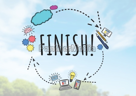 finish text with drawings graphics