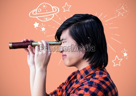man with telescope with planets and