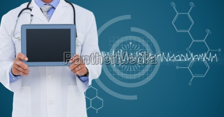 doctor with tablet against white medical