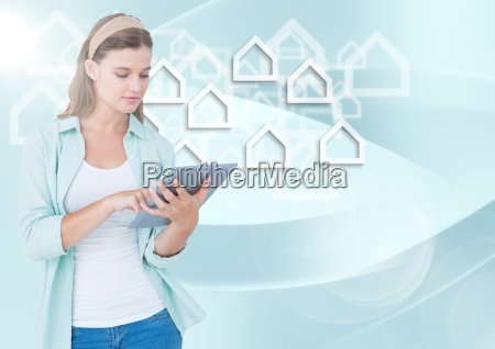 woman, with, tablet, against, white, house - 23171241
