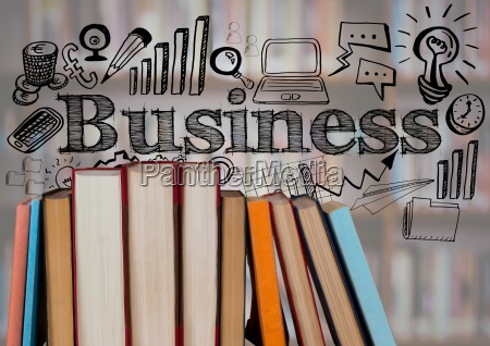 standing books with black business doodles