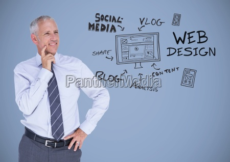 businessman with social media design graphics