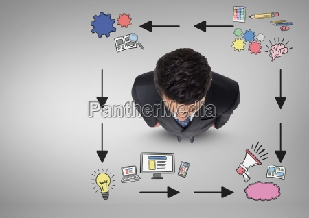 businessman with creative graphics drawings