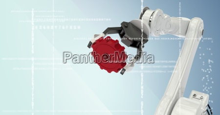 white robot claw holding red cog