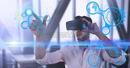 male executive wearing virtual reality headset