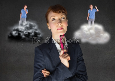 businesswoman, confused, between, being, good, or - 23176557