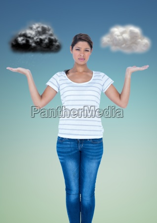 confused woman between good and bad