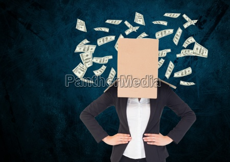 businesswoman with her face cover with