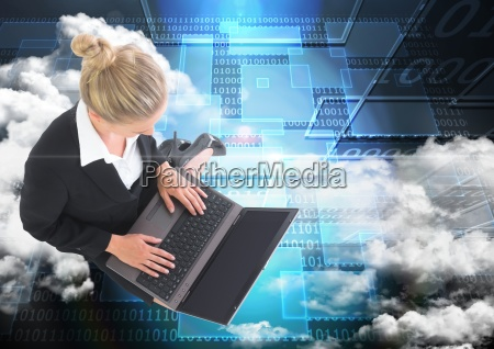 digital composite image of businesswoman working