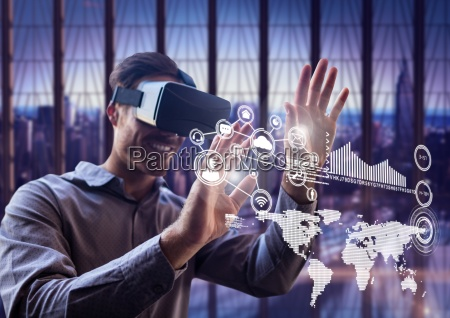 man using virtual reality headset with