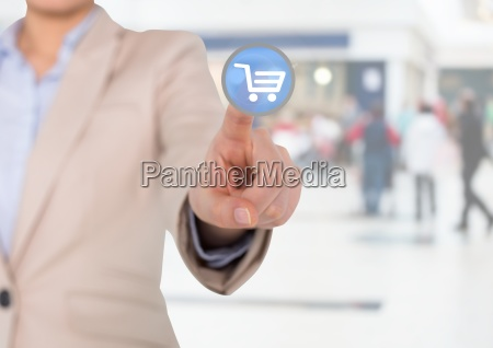 businesswoman touching interface screen with shopping