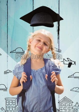 girl, with, bagpack, in, graduation, hat - 23179789