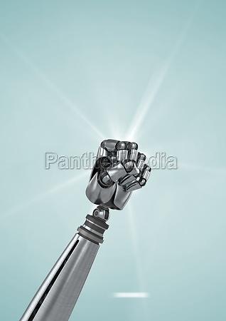 robot fist against light blue background