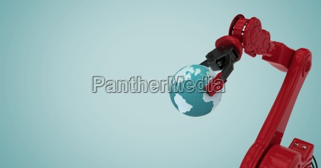 red robot claw holding globe against
