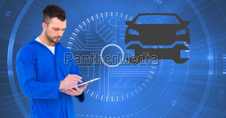 mechanic using digital tablet against car