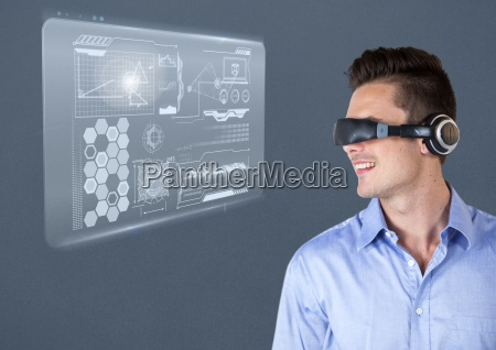 man using virtual reality glasses with