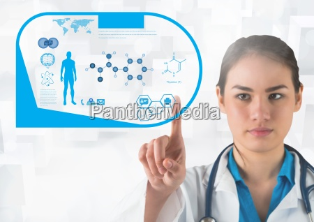 doctor touching interface screen with medical