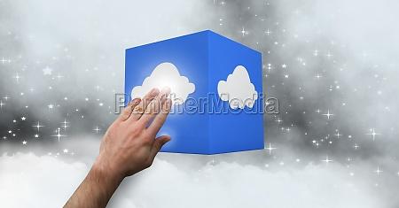 man hand touching a cloud computing