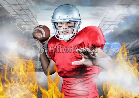 portrait of athlete playing american football