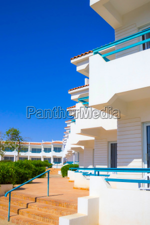 facade of hotel with balconies and