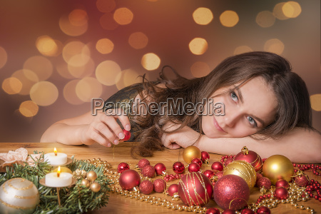happy woman preparing for christmas