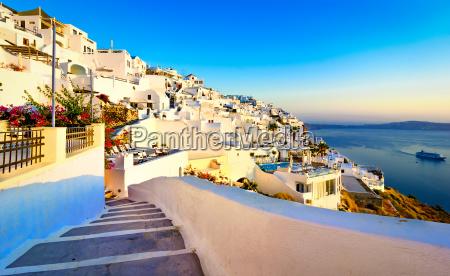 fira santorini island greece traditional and