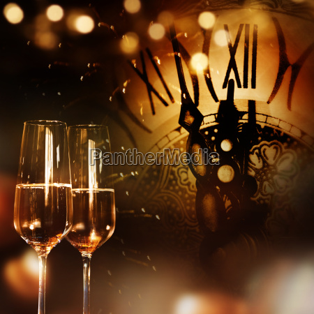 new year congratulations with champagne