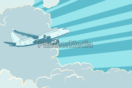 retro airplane flying in the clouds