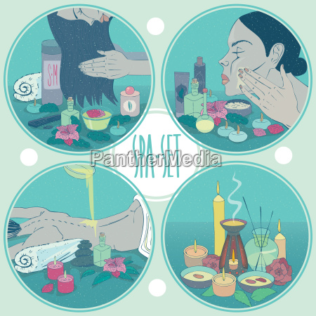 spa set round healthcare illustrations with