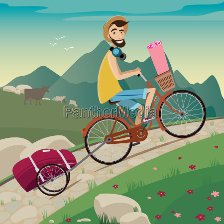 backpacker in the cycling tour in