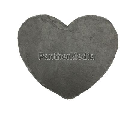 heart shaped black slate board isolated